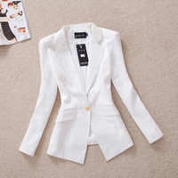 autumn Korean Slim gold buckle suit autumn coat OL leisure suit female outerwear female casual blazer = 1930307268