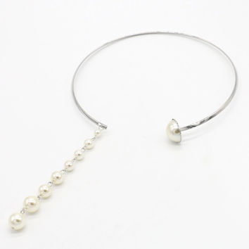 Silver Faux Pearl Pendant Open Ended Necklace