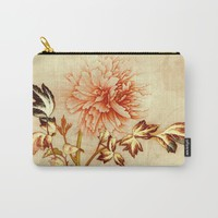 peach and golden floral Carry-All Pouch by clemm