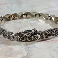 Sterling Silver Vintage Marcasites Bracelet Braided Strands Design Sparkling Lovely 7.25 Inches Long Lightweight Comfortable Very Giftworthy