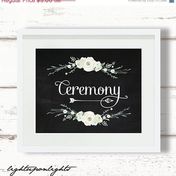 ON SALE Ceremony sign, Watercolor floral ceremony printable, Bridal shower, Rustic wedding ceremony printable, Garden floral wedding decor a