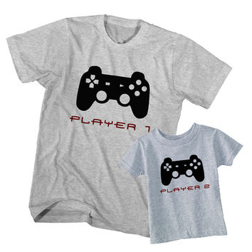Matching T-Shirt Father Player 1 Son Player 2
