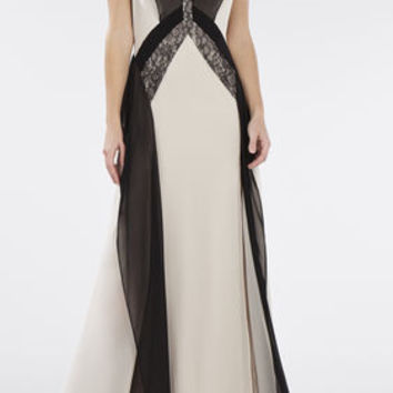 Jenelle Color-Blocked Lace Contrast Gown