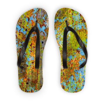 Blue and Lime Green Chipping Paint Flip Flops