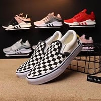 """Vans"" Unisex Fashion Personality Multicolor Tartan Canvas Slip-on Shoes Couple Casual Plate Shoes"
