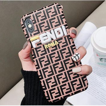 Fendi Fashion New Embroidery Letter More Letter Print Leather Case Women Men Iphone Phone Case Protective Cover