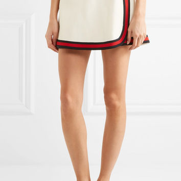 Gucci - Stripe-trimmed twill mini skirt