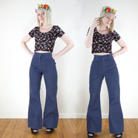 vintage high waisted denim bell bottoms / high waist flare jeans / 70 bell bottom pants