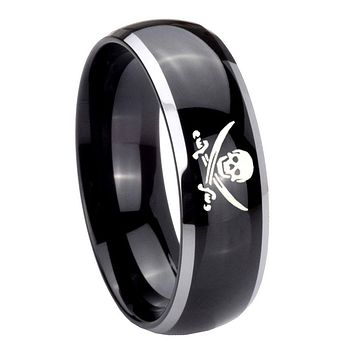 8MM Glossy Black Dome Skull Pirate 2 Tone Tungsten Laser Engraved Ring