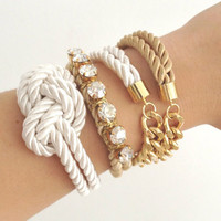 Arm candy set - Half and Half (chunky chain) and Silk knot Bracelet - 24k gold plated