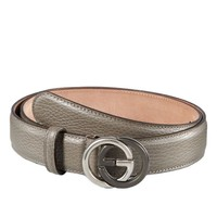 Gucci Grey Leather Belt With Interlocking G Buckle 110 / 44 $450