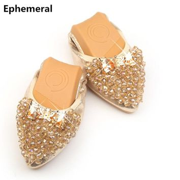 Rhinestone crystal shoes for women ballerina flats pointed toe gold and silver loafers plus size 12 new arrivals American style