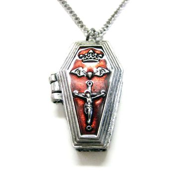 Gothic Red Coffin Pendant Necklace