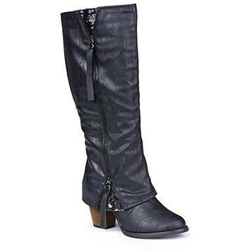 Twisted Womens Tall Zipper Insert Kitten Heel Fashion Boot with Sequin Underlay