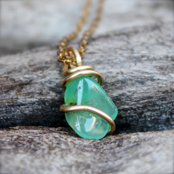 Chrysoprase Necklace - Natural Chrysoprase Jewelry - Wire Wrapped Stone Necklace - Green Stone Jewelry - Gypsy Boho Jewelry - Gypsy Necklace