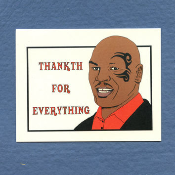mike tyson thanks card thankth funny thank you card original illustration