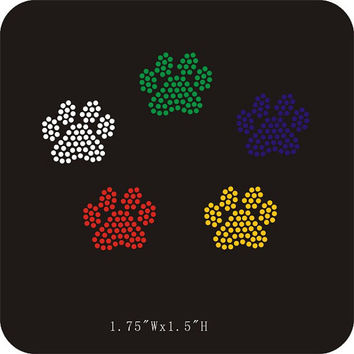 Mini paw prints - You PICK the COLOR - iron on rhinestone hot fix transfer - paw print mascot appliqué