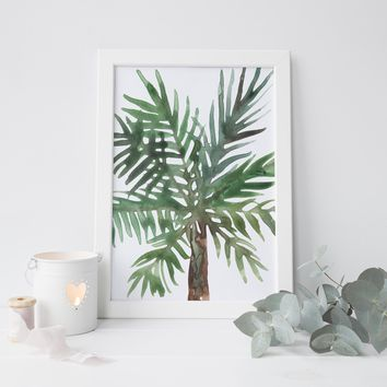 Palm Tree Painting Green Art Print