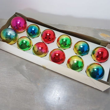 Christmas Tree Ornaments Glass Ornaments Vintage Ornaments Shiny Brite Gradient Ornaments Holiday Decor