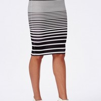 OMBRE STRIPED SCUBA MIDI SKIRT NAVY