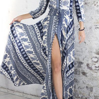 Blue and White Bohemian V-Neck Printed Maxi Dress
