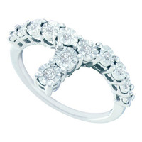 Diamond Fashion Ring in White Gold-plated silver 0.09 ctw
