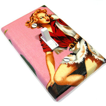 Sexy Red Head Pin Up Girl Light Switch Cover Pink Pinup Cowgirl Western Decor Rustic 156