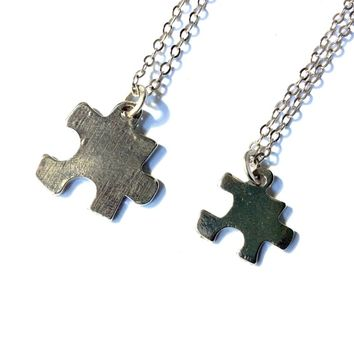 jigsaw puzzle piece necklace, autism awareness charm (small)