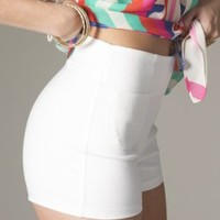 Hi Waist Short with zip back in white or black