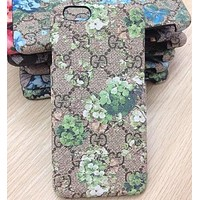 GUCCI Fashion Flower Print iPhone Phone Cover Case For iphone 6 6s 6plus 6s-plus 7 7plus 8 8plus