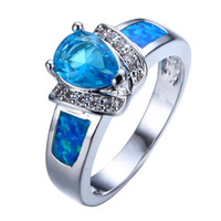 Fashion Heart Design Blue Fire Opal Ring White Gold Filled Crystal Jewelry Vintage Wedding Rings For Men And Women RP0044