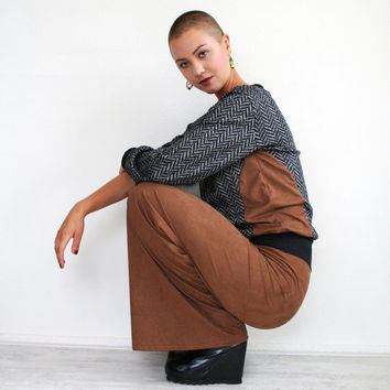 Brown vegan suede pants, wide leg trousers, made to order in sizes S M L XL