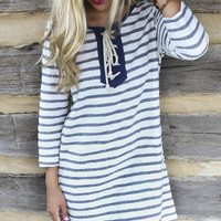 Whimsy Fountain Navy Striped Knit Shift Dress