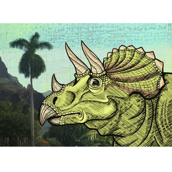 Tropical Triceratops - Dinosaur Color Illustration Print On Wood