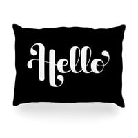 "Roberlan ""Hello"" White Black Oblong Pillow"