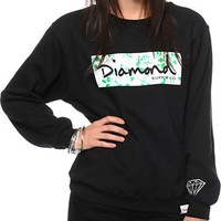 Diamond Supply Co. Floral Box Logo Black Crew Neck Sweatshirt
