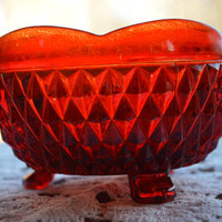 Ruby Red Diamond Point Bowl by Indiana Glass