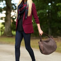Chic Burgundy Blazer - Jacket - Outerwear - $50.00