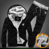 Plus Velvet Winter Men's Sport Suit Thickening Warm Tracksuits Velvet Hoodies+Pants Clothing Sets Sweatshirt Hoodies Men [9305837639]
