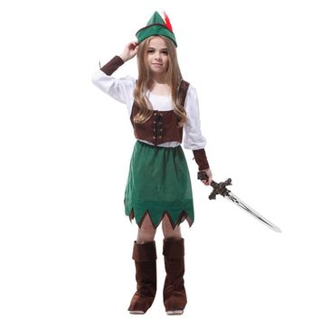 MOONIGHT 4 Pcs Factory Direct Sale Gift Tower Girls Deluxe Peter Pan Halloween Costume For Kids Cosplay Clothing
