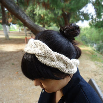 Hand knit womens headband, knitted wool headband, womens winter head wrap, womens knit earwarmer, cable knit headband, white knit headband