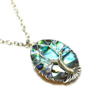 Wire Wrapped Tree of Life Pendant Mother of Pearl Abalone Paua Shell Silver Plated Wire Turquoise and Blue Yggdrasil Celtic Tree of Life