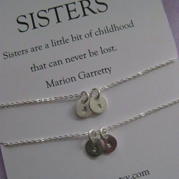 2 SISTERS Necklace // Sisters necklace Matching // Two sisters jewelry. Delicate sterling silver // Inspirational Gift