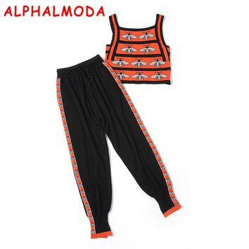 ALPHALMODA 2018 Summer Bees Knitted Tank Top + Haren Pants Women 2pcs Fashion Suits Slim Vest Trousers Sets