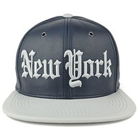 Trendy Apparel Shop New York 3D Embroidered PU Leather Style Flatbill Snapback Cap