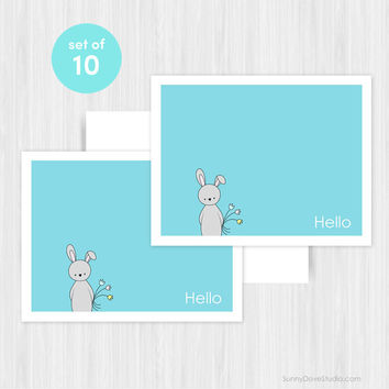 Bunny Hello Greeting Card Set of 10 Blank Notecards Cute Handmade Note Cards Boxed Stationery Pack Gifts Gift Ideas For Her Friend Sister