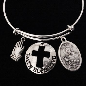 Praying Hands Fertility Jewelry Faith Hope Love Saint Gerard Adjustable Bracelet Expandable Charm Bracelet Double Sided Religious Jewelry Stacking Trendy