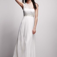 One Shoulder Mesh Gown with Beaded Waist - David's Bridal - mobile