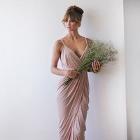 Wrap dress ,Blush pink maxi dress, Bridesmaid dress, Formal dress, Party dress