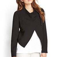 LOVE 21 Faux-Leather Trim Jacket Black